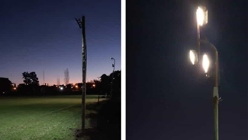 Trabajos de iluminación en la cancha 3 de Luján Rugby Club