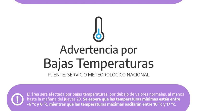 Emitieron una «advertencia violeta» por las bajas temperaturas